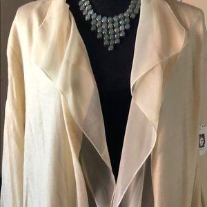 NWT, Anne Klein cream cardigan w/sheer panel Sz L